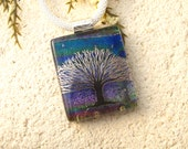 Silver Black Tree of Life Necklace, Silver Necklace, Tree Root, Necklace, Dichroic Jewelry, Fused Glass Jewelry, Ombre Pendant. 011716p104