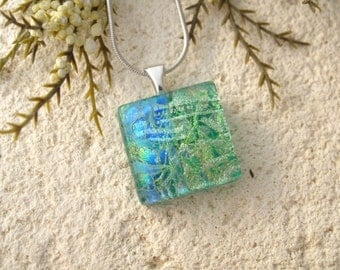 Petite Dichroic Jewelry, Green Blue, Gold, Dichroic Necklace, Fused Glass Jewelry, Dichroic Jewelry, OOAK, Silver Necklace, 052316p102