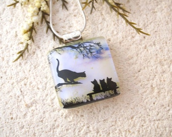 Petite Cat 3 Kittens Necklace, Cat Necklace, Dichroic Glass Jewelry, Pendant, Fused Glass Jewelry, Tabby Pre School, Cat Jewelry, 061216p114