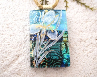 Blue Iris Necklace, Dichroic Glass Jewelry, Fused Glass Jewelry, Gold Necklace, Iris Necklace, Glass Jewelry, Blue Glass Pendant, 102116p101