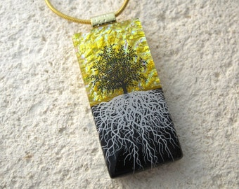 Tree Necklace, Fused Glass Jewelry, Rooted Tree, Tree of Life Jewelry, Glass Pendant, Necklace Included, Black & Gold Necklace, 122215p104