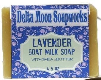 Handmade Lavender Goat Milk Soap, Natural Soap, Shea Butter soap, essential oil soap, sensitive skin soap, cold process soap, facial soap