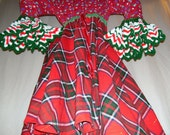 Kitsch Christmas Dress Penguin Plaid Gold Red Green Holiday OOAK Geek Ugly Sweater Party Dress  Adult S M L Christmas Geek Holiday Dress