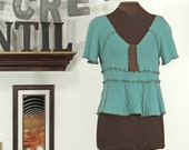 soft aqua blue - green and brown upcycled cropped cotton sweater shrug
