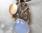 Abstract Pink Silver Pendant with Blue Chalcedony Cabochon