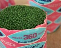 Green Wool / Nylon Blend Rug Yarn - vintage Bernat Craftsman Precut Latch Hook Yarn #3139  – 3 Pks