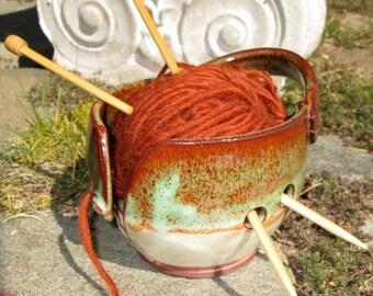 Yarn Bowl Knitting Crochet in Warm Desert Hues