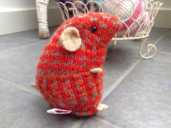 Knitting Pattern For Hamster Jumper : Orange dots plush hamster made from recycled jumper sweater