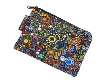 Catch All Bag holds chargers - cords - make up - collections - hard drives - Happy Dot Fabric