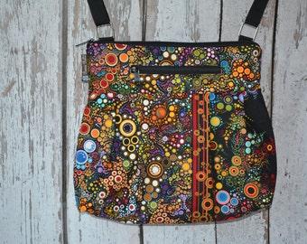 iPad Purse Kindle Handbag - Shoulder Bag Purse - Padded Electronics Tablet Pocket LARGE HOBO BAG Happy Fabric