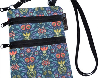 Ella Bella Purse - Cross body Purse - 3 Zippered Pocket - Adjustable Strap - Washable - FAST SHIPPING - Cell Phone Purse - Home Sweet Fabric