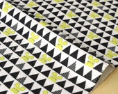 Japanese Fabric Kokka Ellen Baker - parallels flannel - mouse - yellow, black - 50cm