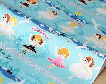 Japanese Fabric Kokka Push Pin November Books - swan lake - blue - 50cm