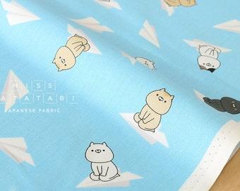 Japanese Fabric Sonoda-kun cat paper planes - blue - 50cm