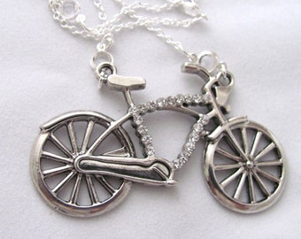 SALE Bicycle Necklace Rhinestone and Crystal Accents Bike Necklace Bicycle Jewelry Bike Jewelry Gift Idea for Athletes Gift Idea Cyclists