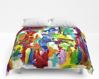 Bed Cover, Art Bedding, Art Blanket, Rainbow Bedding, Queen Comforter, King Comforter, Rainbow Blanket, Queen Bed Cover, King Bed Cover
