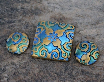 Polymer Clay artisan beads Set of three (3)  Jewelry Making Components Abtract Boho . Square focal coin beads metallic blue green gold