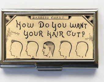 Barbers Business Card Holder Card Case Hair cut Chart