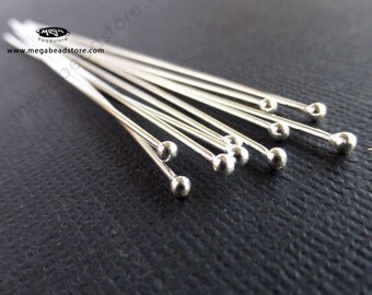 "10 pcs 20 Gauge 2mm Ball End Head Pins 925 Sterling Silver 3"" Long F08"
