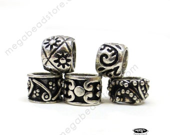 5 pcs Bali Sterling Silver Beads Large Hole Fit 3mm European Bracelet B159MiX