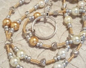 Gold accented Simply Pearls beaded lanyard perfect for your work badge ID card dorm key whatever you need it for