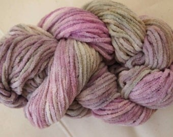 LILAC MIST Chenille Cotton Yarn Handpainted 85yds 1.25oz Worsted Weight knitting aspenmoonarts
