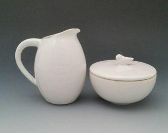 Sugar and Bud Creamer Ceramic Set with Bird