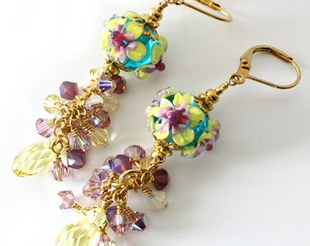 Lampwork Beaded Earrings, Flowers, Floral, Turquoise, Aqua, Yellow, Pink, Amethyst, Crystal Dangle Earrings, Long Drop Earrings, OOAK