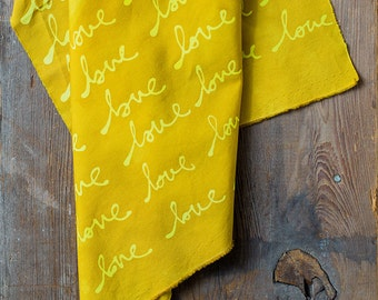 LOVE Hand Dyed and Patterned Fabric in Lemon and Marigold