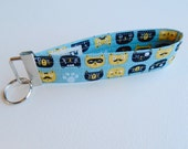 Black And Yellow Cats Key Fob For Mew