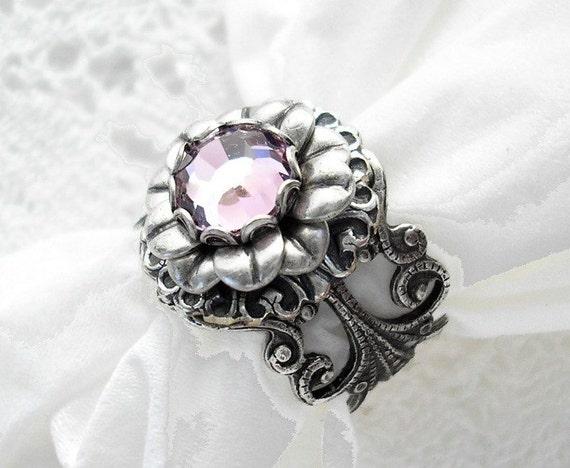 Lavender Haze - Light Amethyst Swarovski Antiqued Silver Ox Adjustable Ring