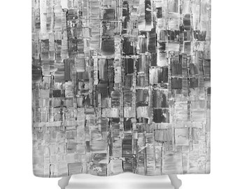 Designer Shower Curtain Art- abstract black and white, modern interior design, bathroom home decor from Susanna's art