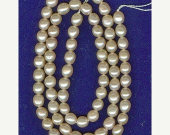 CLEARANCE 5x6mm Genuine Light Peach Rice Freshwater Pearls - Full Strand
