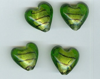 20mm Green with Black Stripe Heart Beads Set 4 - 0116