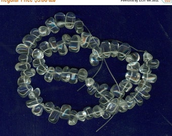 CLEARANCE Clear Glass Top Drilled Chip Beads