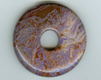 45mm Brown and Purple Jasper Gemstone PI Donut Focal Pendant Doughnut 1318