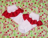 Red Ruffled Satin Edge Ribbon Socks - Red Satin Christmas Socks  - Birthday Party - Church - Stocking Stuffer - Holiday - School - Pageant