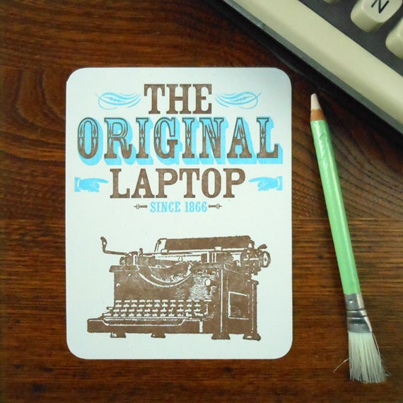 letterpress original laptop postcard manual typewriters were our first laptops flat postcard with message and mailing panel on back