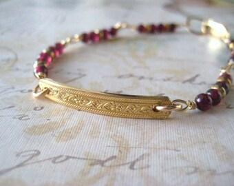 Garnet Bracelet, Pattern Wire, 14k Gold Filled, Genuine Garnet, Brass Spacers, Red Garnet, Gold Fill Clasp, January Birthday, candies64