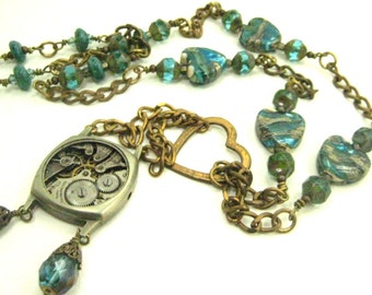 Aqua Hearts ... Steampunk Victorian Lampwork Watch Movement One of a Kind Creation