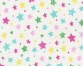Sale (40%) HALF YARD Flower Sugar Holiday Collection - 31330-10 Multi color Stars on WHITE - Lecien - Japanese Imported Fabric - Christmas