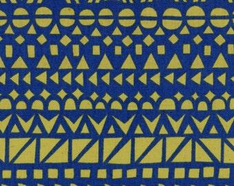 HALF YARD Ellen Baker - Roughcut - Mosaic Blue and Yellow - Cotton Linen Canvas  - Kokka  Japanese