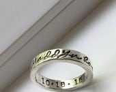 Sterling Silver Stamped Ring - hand stamped name - thick band