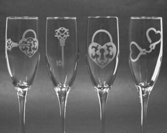 SALE - Key To My Heart Champagne Flutes - kinky set of 4