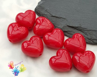 Lampwork Beads Glass Beads Cherry Red Heart Per Bead