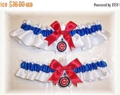 SALE 10% OFF Handmade Wedding Garter Set with Chicago Cubs charms Satin w-rrw