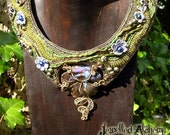 Boulder Opal Bead Embroidered Necklace with Silk Ribbon Wire Work - 'Renaissance Flower'