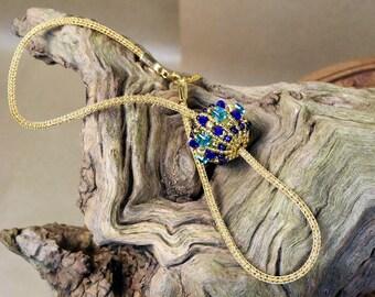 Jeweled Sphere Pendant - Crystal Orb Pendant - Glass Orb Pendant - Gold Orb Necklace - Crystal Sphere Pendant - Gold Globe Pendant