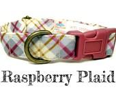 "Rustic Yellow Dark Pink Gray Plaid Dog Collar - Preppy Girl Dog Collar - Organic Cotton - Antique Brass Hardware - ""Farmhouse"""