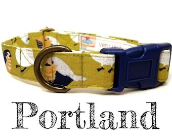 "Vintage Green Sparrow Bird Dog Collar - Girl Dog Collar - Organic Cotton - Antique Brass Hardware - ""Portland"""